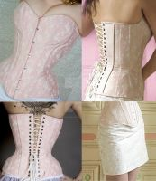 Pink coutil overbust corset by AtelierSylpheCorsets