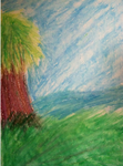 Very first oil pastel drawing-Lake by FireclawIceclaw