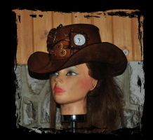 steampunk leather cowboy hat wild wild west by Lagueuse