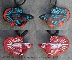 Betta Fish Pendants by soulofwinter