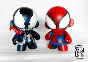 Mini Munny Spiderman and Venom by FullerDesigns