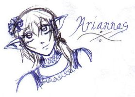 Ariannas Ink Drawing by Nefa-Aria