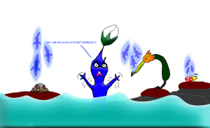 Why the blue pikmins? by Rexart35