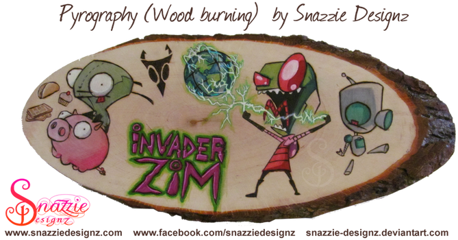 Invader Zim Pyrograph (Wood burning) by snazzie-designz
