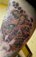 Zombie Face Tattoo by seanspoison
