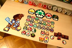 Sora and Mario perler by Kurikku