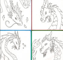 Elemental Dragons -Lineart- by xReperio