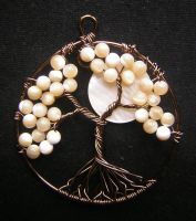 Ivory Tree of Life with Moon by RachaelsWireGarden