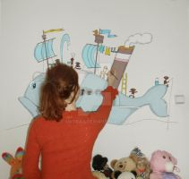 Me painting on wall by Sikorax
