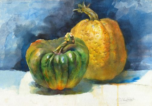 Two pumpkins by OlgaSternik