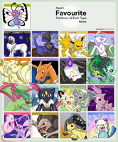 Fave Pokemon of Each Type Meme by EmpressBlackWings