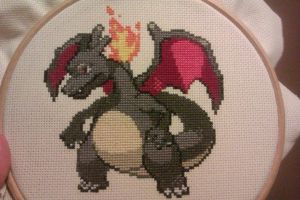 Shiny Charizard cross stitch by squashedbanana