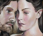 Arwen and Aragorn ACEO by sullen-skrewt
