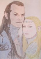 Elrond and Celebrian-colour by ThetaKoshei
