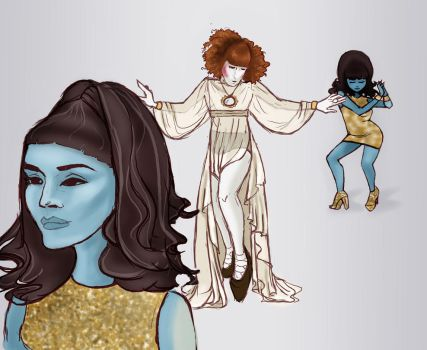 Florence + The Smurf Girls by irmelindisallow