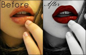 Red Lips. Before and After by Skysofdreams-Stock