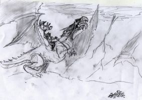 Men riding dragons throwing wolves at maggots by WolfMK47