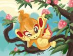 Chimchar and a pecha berry tree by CelestiallKirin