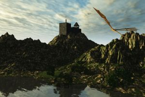Castle and Dragon by Runewitch