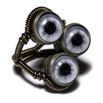 Steampunk 3 Blue eye Ring by CatherinetteRings
