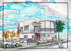 Contemporary Filipino Restaurant in Watercolor by sabrelupe
