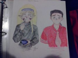 Ryoko and Tenchi. Sorry about the missing arm by JennaveveRayenstone