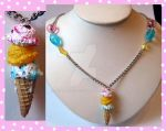 Ice Cream Cone Necklace by cherryboop