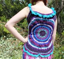 Blues Purples Crochet Vest 01 by Faeriegem