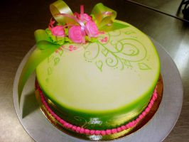 green fun cake by buttercreamfantasies