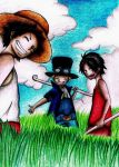 Young Luffy,Ace and Sabo-One Piece by Say0Hitsugaya