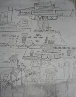 Aether Naval Base Drawing by Aetherartist