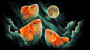 3 goldfish 1 moon mspaint by griffsnuff
