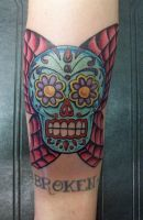 Skull with Butterfly wings by johnnyjinx