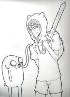 Anime Finn and Jake Lineart by AoiNaito