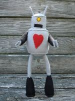 Retro bot plush, he loves you by silentorchid