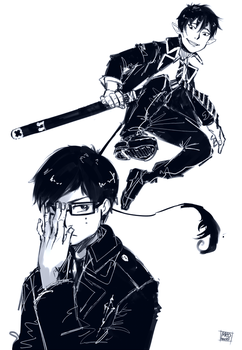 ao no exorcist sketches by meodwarf