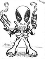 Deadpool Chibi Sketch by ANTOINE-X