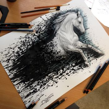 Splatter Horse Drawing by AtomiccircuS