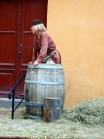 Boy and Barrel 1 by MystStock