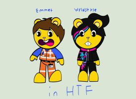 Emmet and Wyldstyle in HTF by samart0098