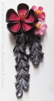 Red and black plum blossoms / kanzashi by WhimsicalArtisan