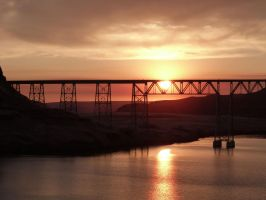Joso High Bridge Sunset by historicbridges