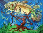 Fish on a Bicycle in a Tree by nellems