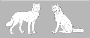 Commission - Wolf Lineart by Mikaley