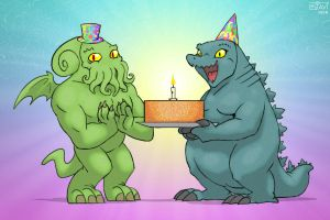 Gojira and Cthulhu wish my sister a happy birthday by DrJavi