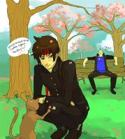 Basara in the sakura park by O-Kei