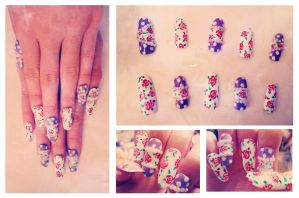 Polka Dot Floral Nails by JiaBaby