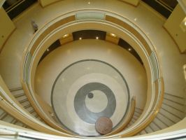 Looking down library stairs by snoogaloo