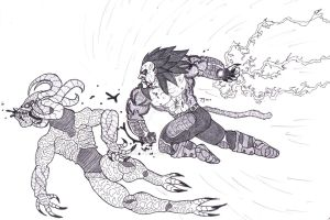 Vegeta ssj4 vs Demon by Bender18
