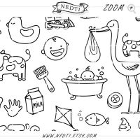 Baby Hand Drawn by Nedti - 64 Clip Art Elements by Nedti